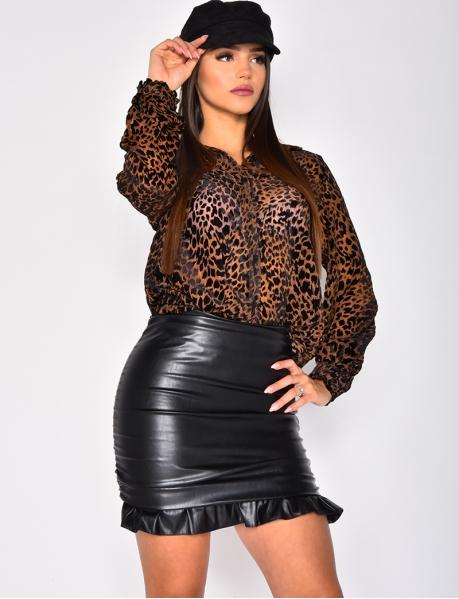 Chemise léopard à empiècement velours
