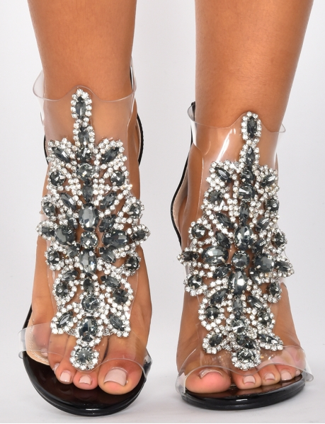 Heeled Sandals with Rhinestones