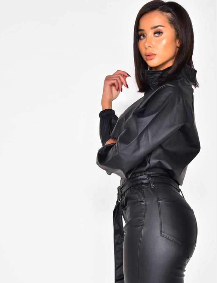 Haut femme en cuir PU à zip