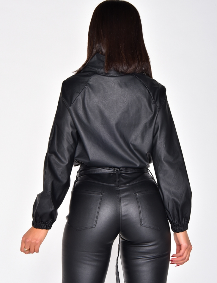 PU Leather Top with Zip