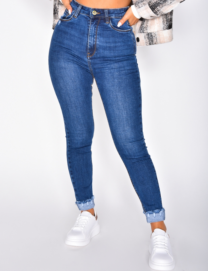 Very High Waisted Cropped Skinny Jeans