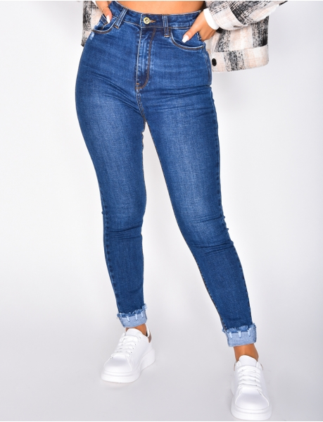 Jeans mit sehr hoher Taille, Skinny Fit, cropped
