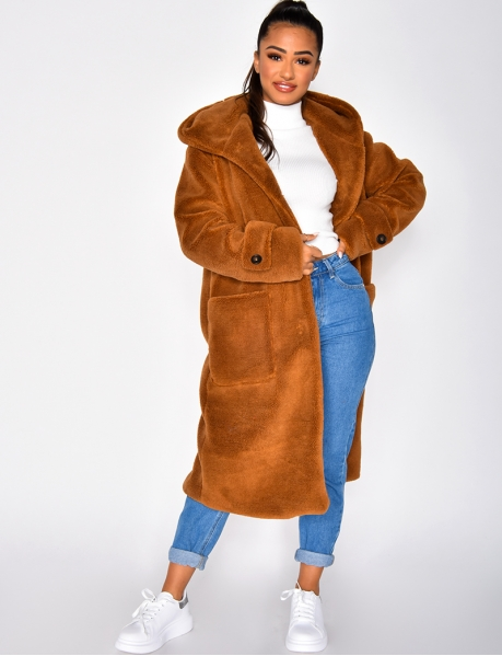 Long Faux Fur Coat with Hood