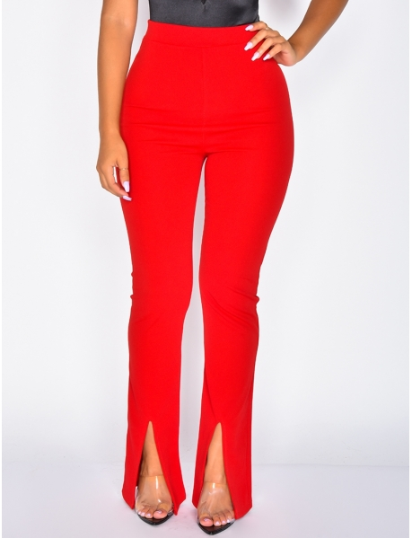 High Waisted Trousers with Slit