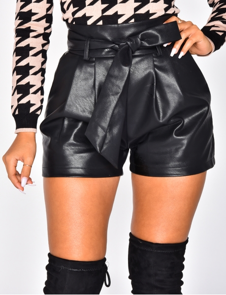 PU Leather Tie Shorts