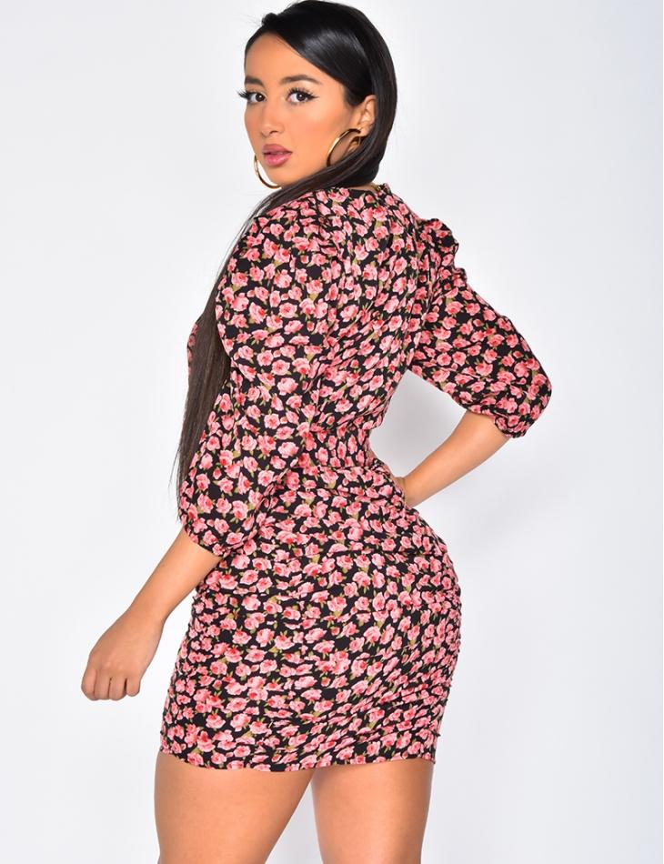 Floral Pattern Dress with Belt