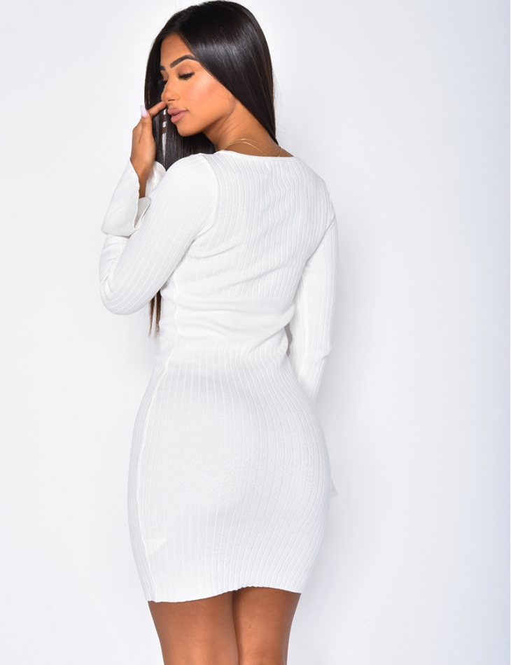Ribbed Dress with Long Flared Sleeves