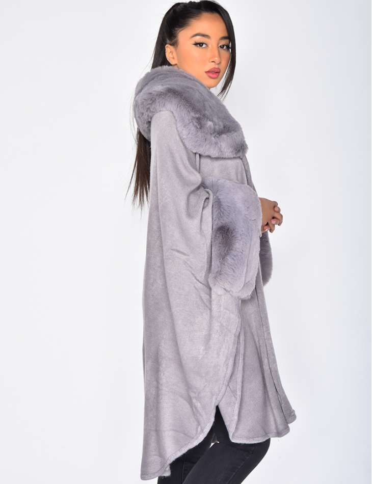 Cape with Fur Collar & Sleeves