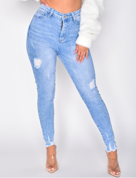 Jeans taille haute destroy push-up