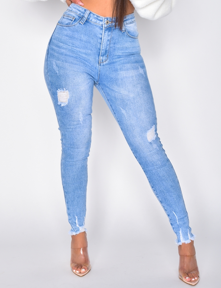 Ripped High Waisted Push Up Jeans