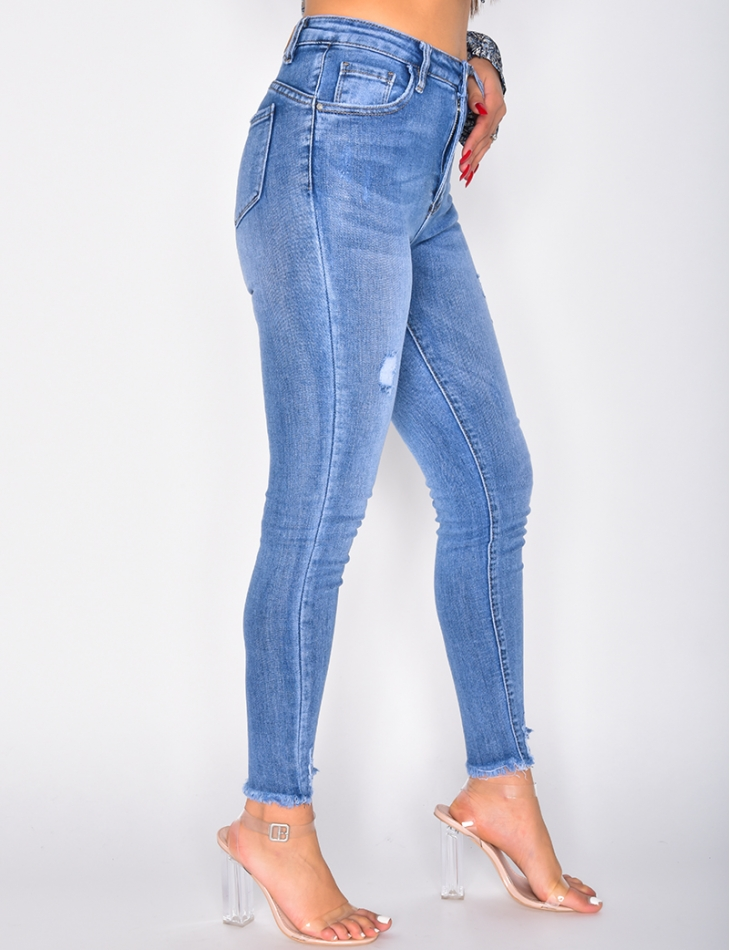 High Waisted Faded Skinny Jeans