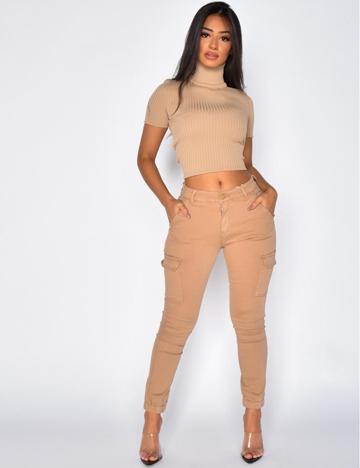 Jeans cargo beige