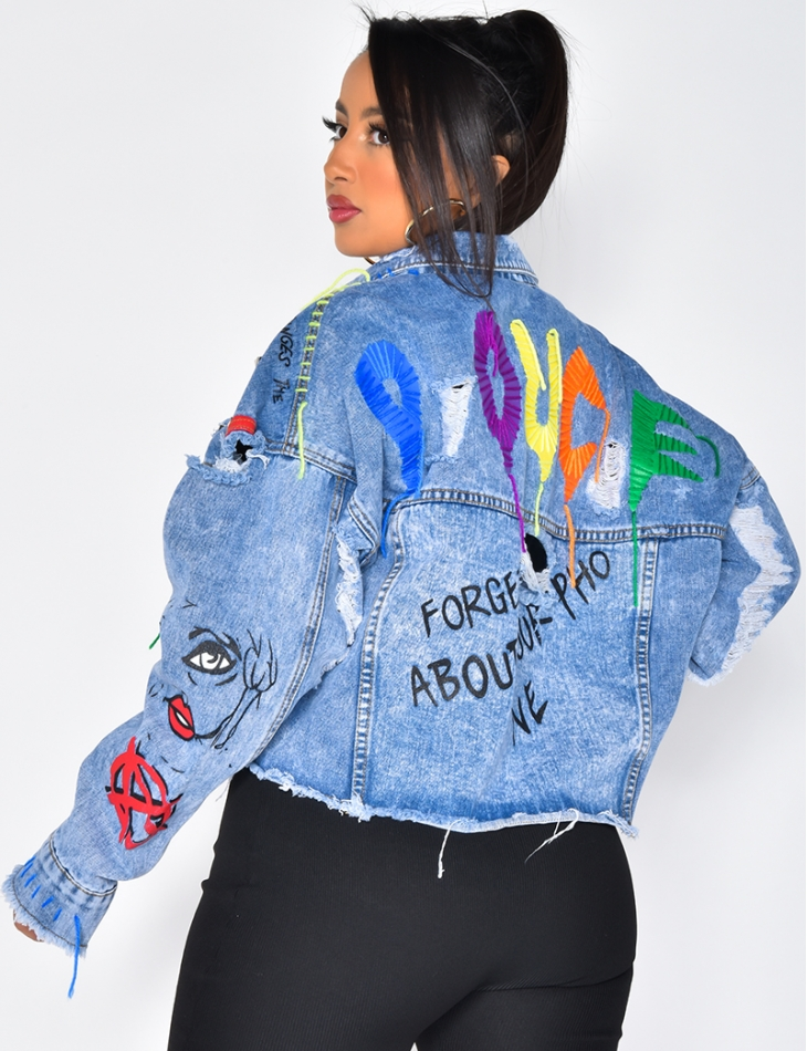 Denim Jacket with Pattern and Studs