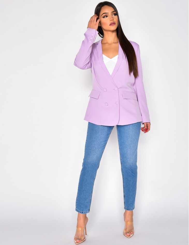 Blazer with Crossover Buttons