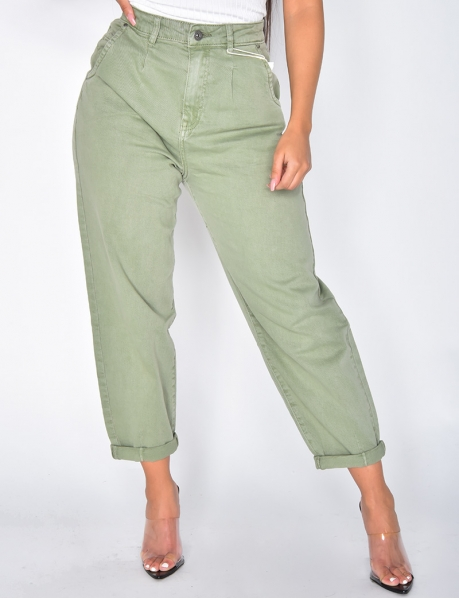 Faded Khaki Slouchy Jeans
