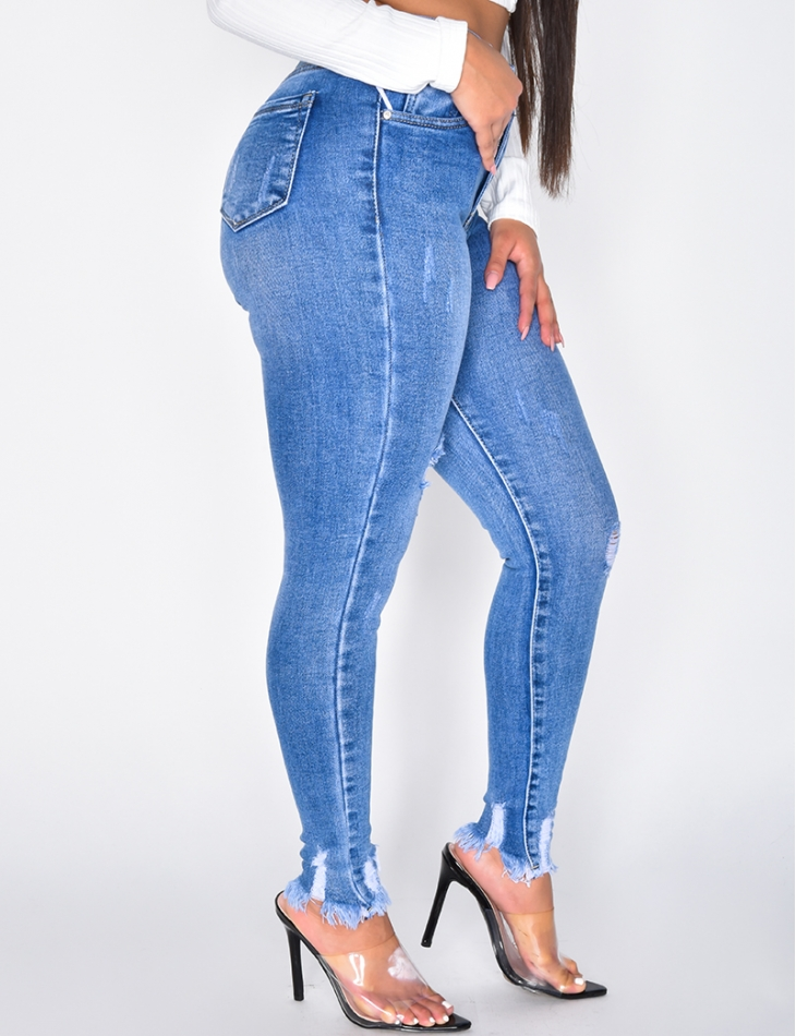 Ripped High Waisted Cropped Jeans