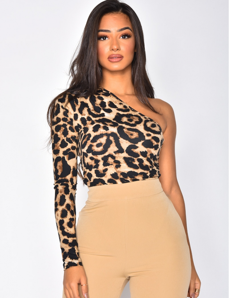 Asymmetric Leopard Bodysuit