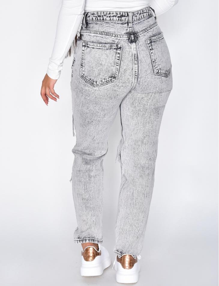 Grey White Ripped Boyfriend Jeans