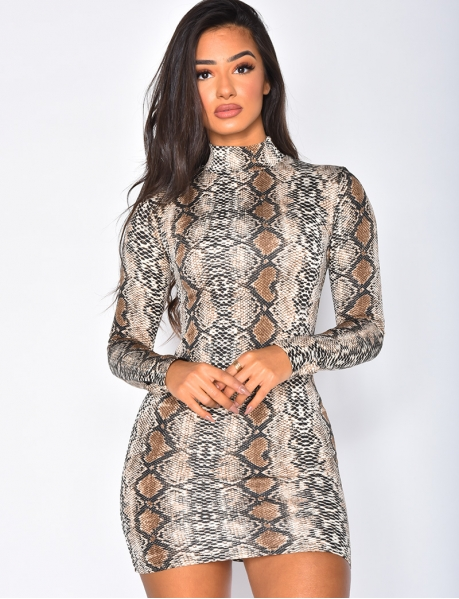 Robe col montant snake