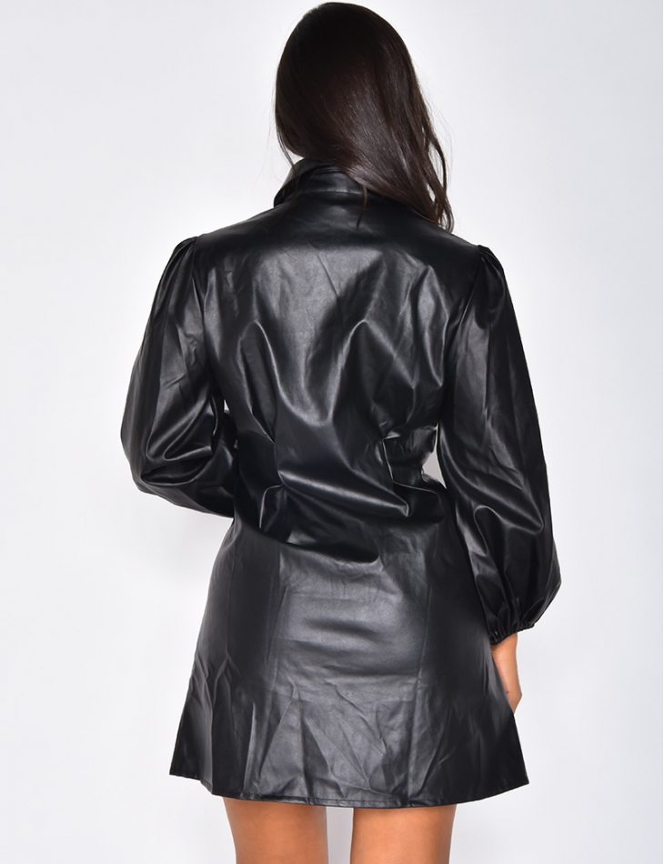 Fitted Leather Shirt Dress