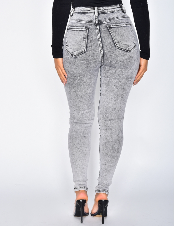 80s Style High Waisted Grey Jeans