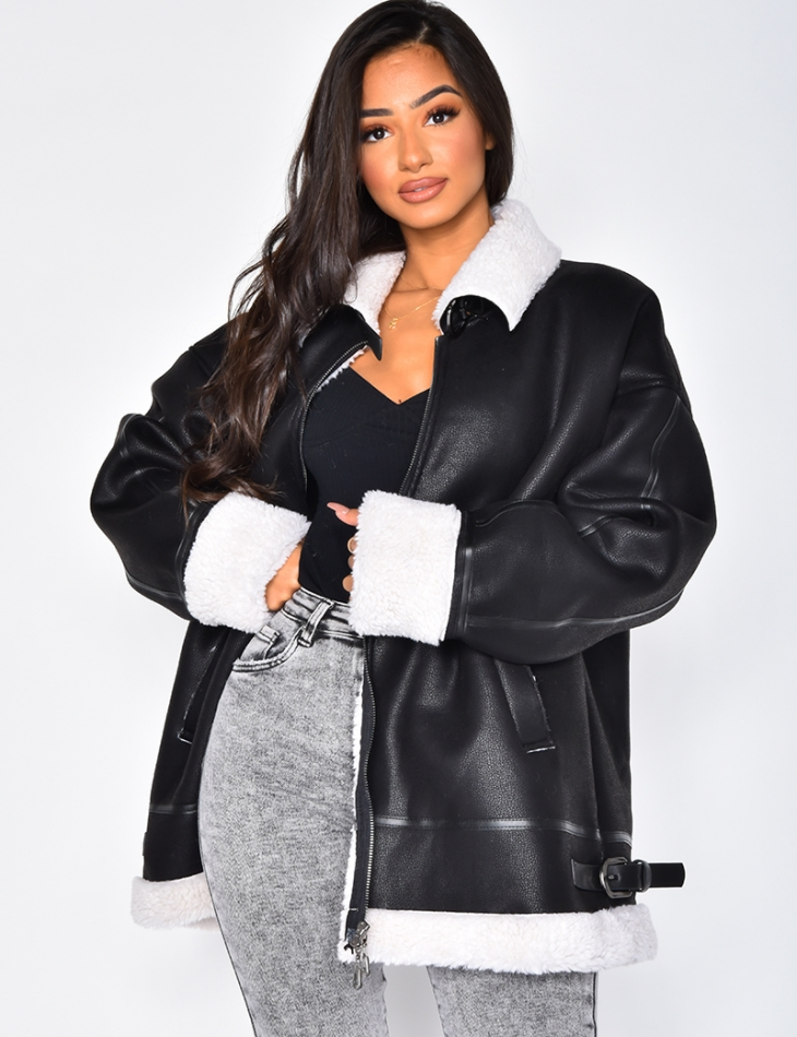Oversized Fur-Lined Bomber Jacket