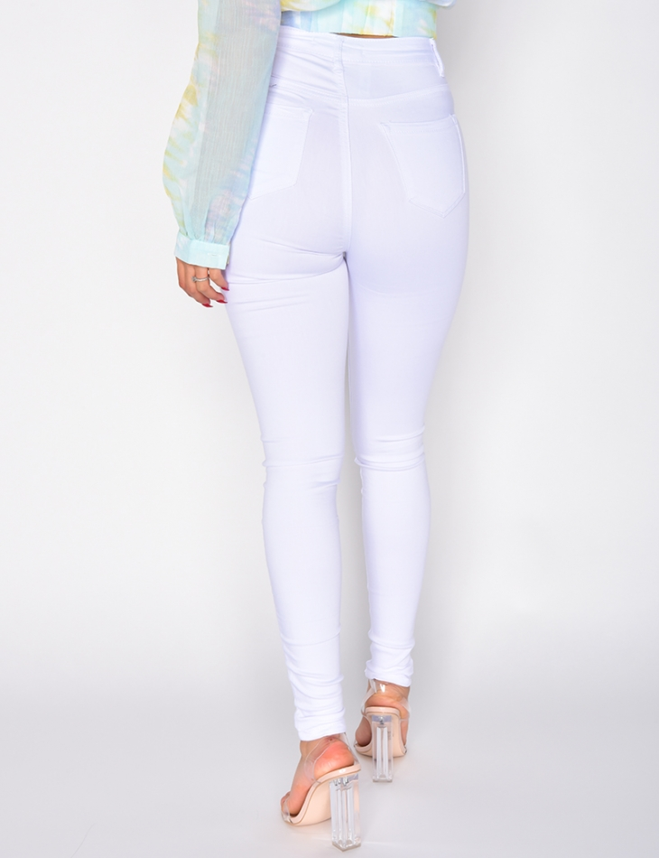 Very High Waisted White Jeans