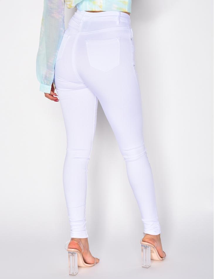 Jeans blanc super taille haute
