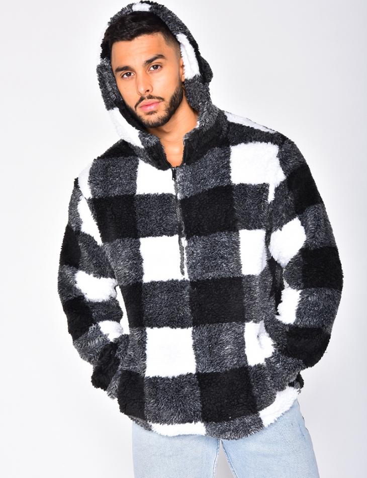 Faux Fur Checked Sweatshirt with Hood and Zip