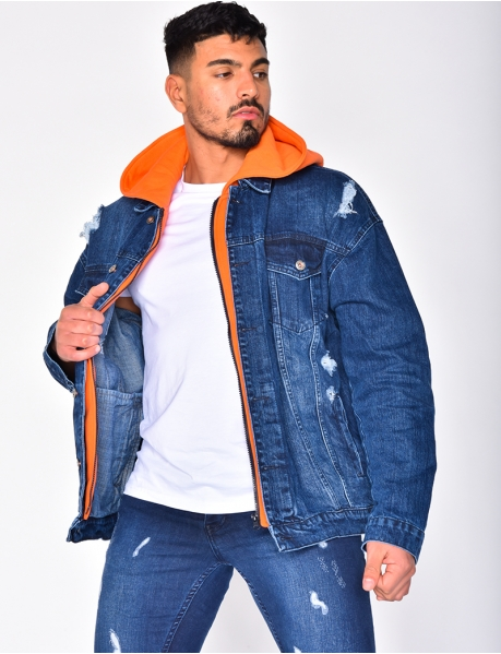 Veste en jeans à capuche sweat orange