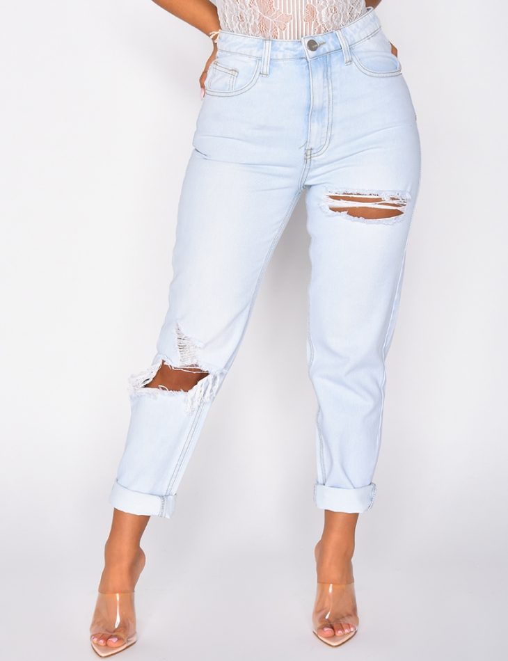 Ripped Light Mom Jeans