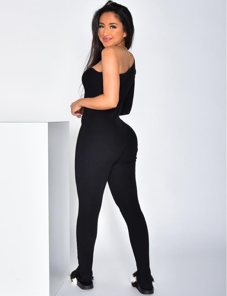 Asymmetric Ribbed Jumpsuit