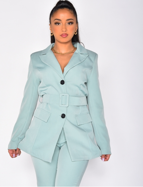 Mid-Length Blazer with Shoulder Pads and Belt
