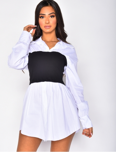Long Shirt with Ribbed Bandeau Insert
