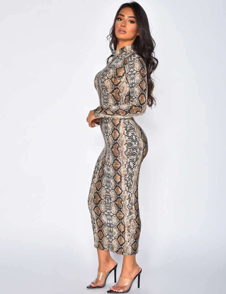 Long Sleeved Dress with Snake Print