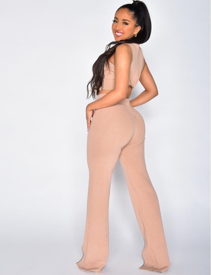 Ribbed Bell Bottom Slit Trousers