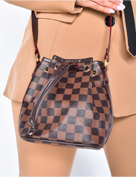 Bucket Bag with Checked Pattern
