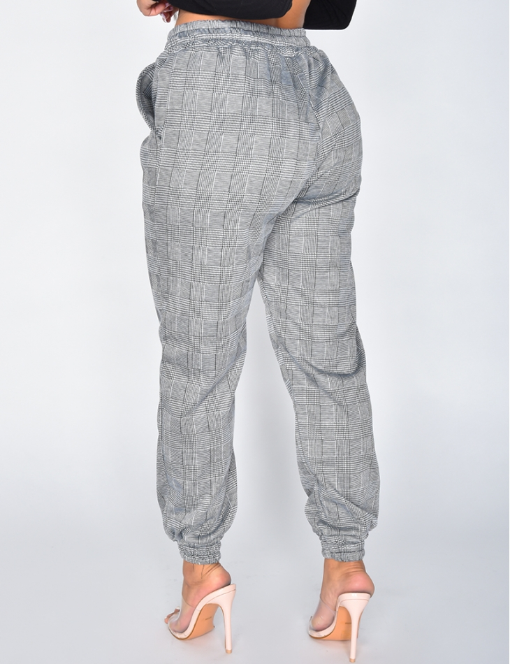 Checked Jogging Bottom-Style Trousers