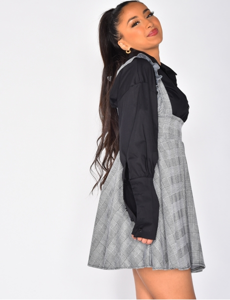Checked Skirt with Braces