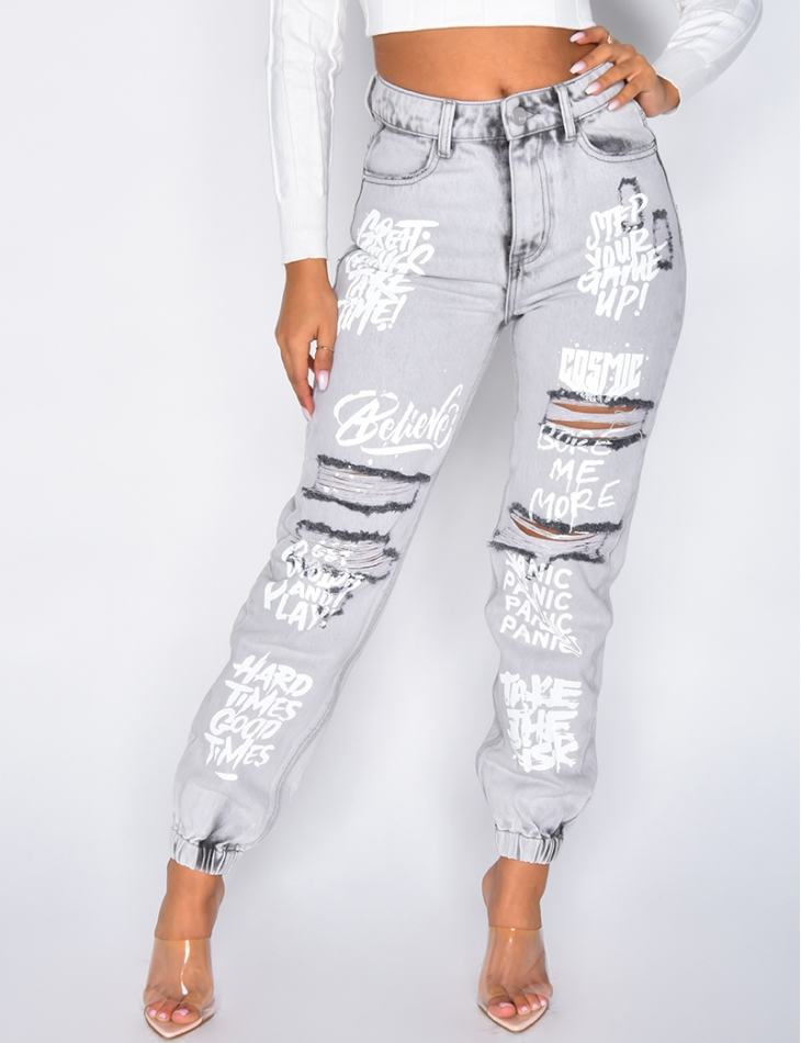 Ripped Jeans with Graffiti