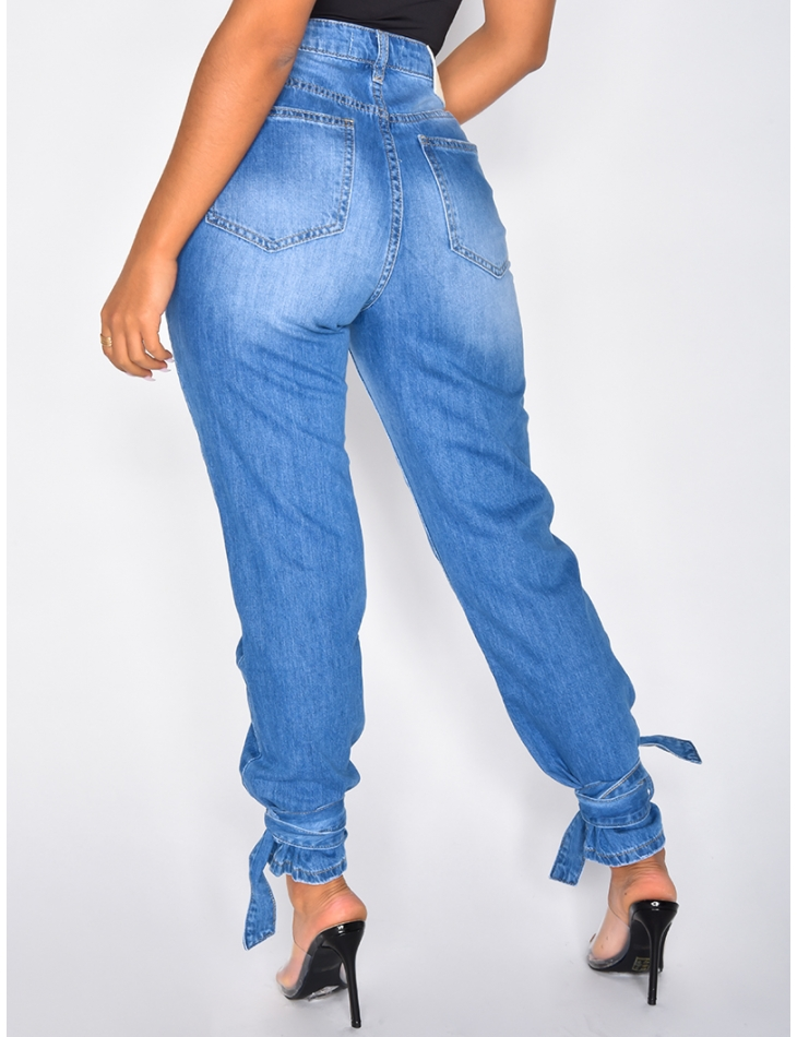 High Waisted Jeans with Ties around the Ankles