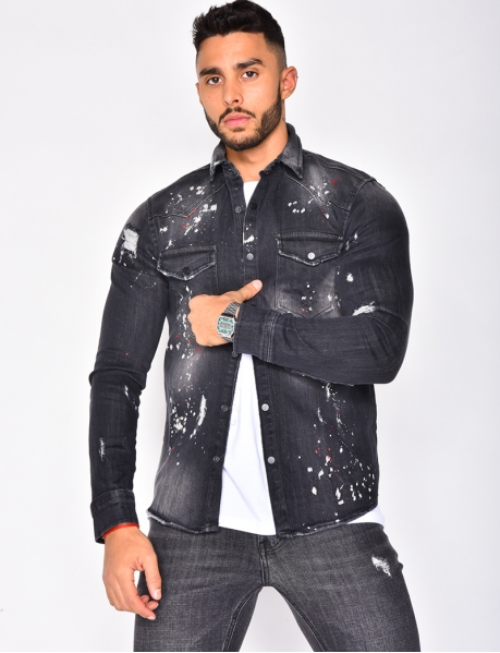 Speckled Ripped Denim Shirt
