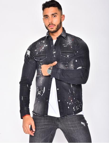 Chemise en jeans tâchetée destroy
