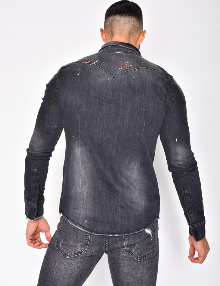 Speckled Ripped Denim Shirt