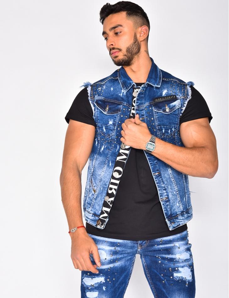 Veste en jeans cloutée sans manches