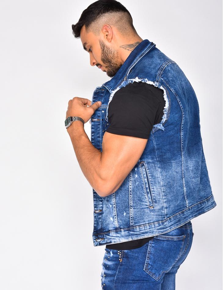 Studded Sleeveless Denim Jacket