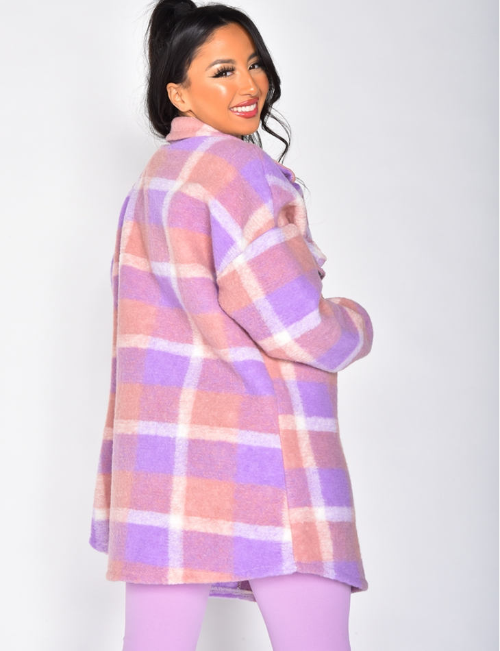Short Checked Wool Coat