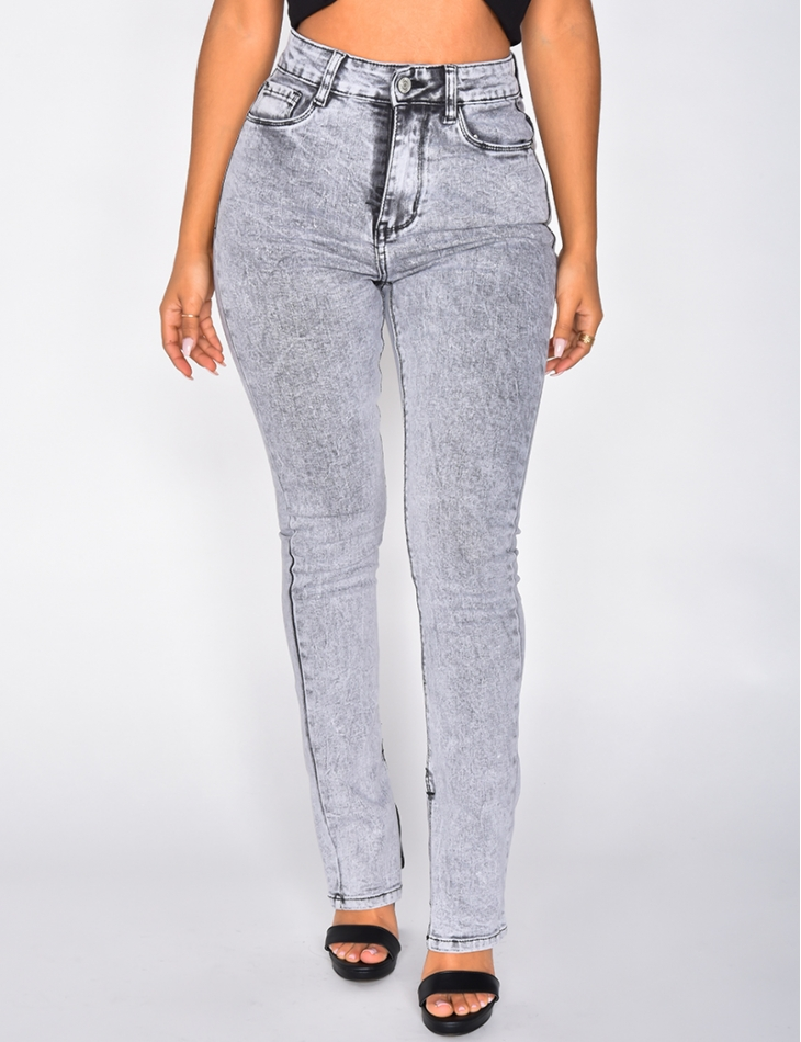 High Waisted Skinny Jeans with Slits