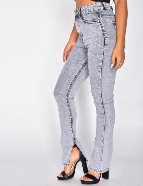 Jeans mit hoher Taille, Skinny Fit, mit Schlitzen