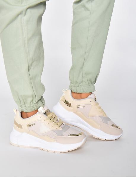 Sneakers aus zwei Materialien, nude